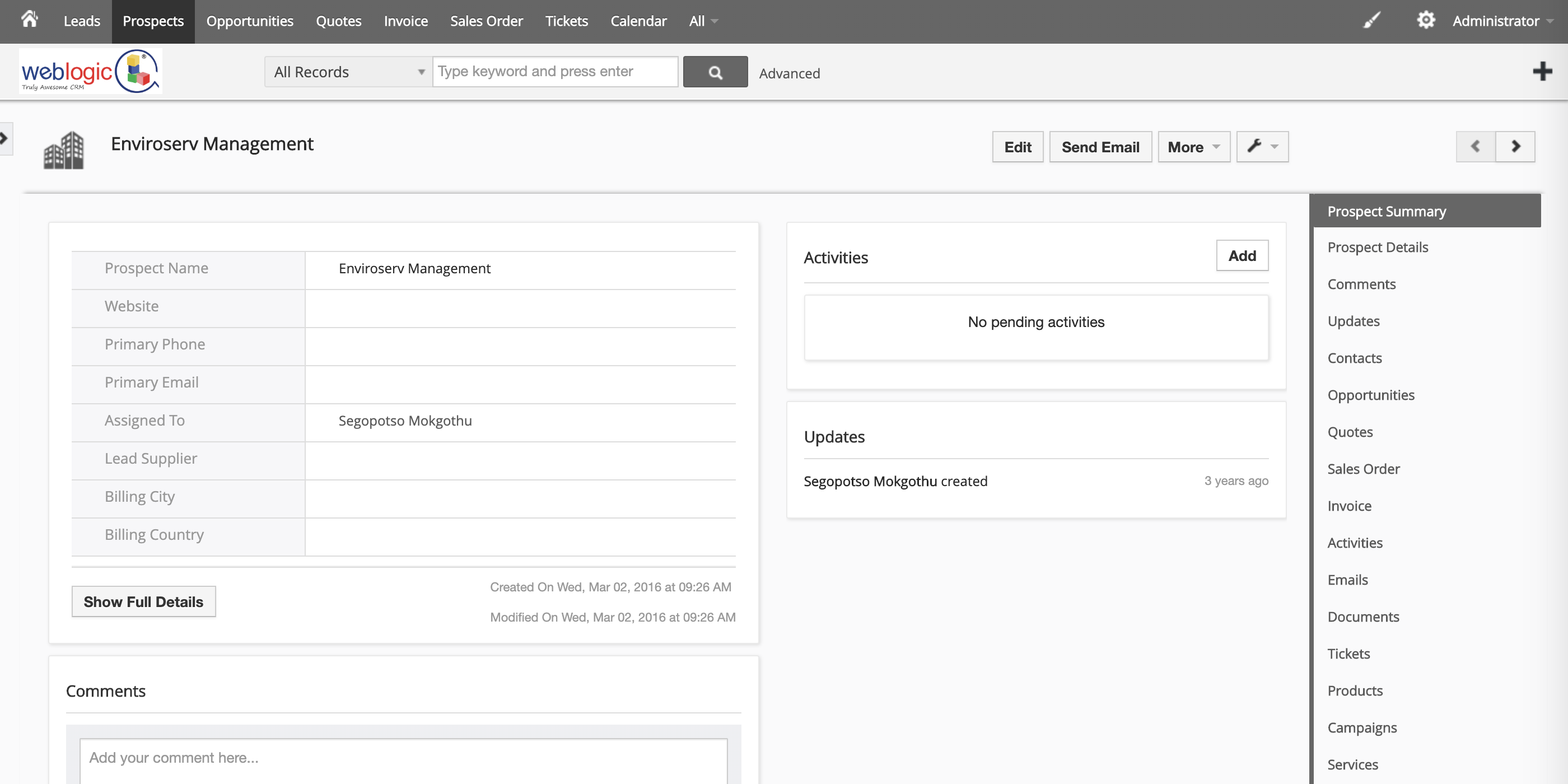 CRM Prospect Page
