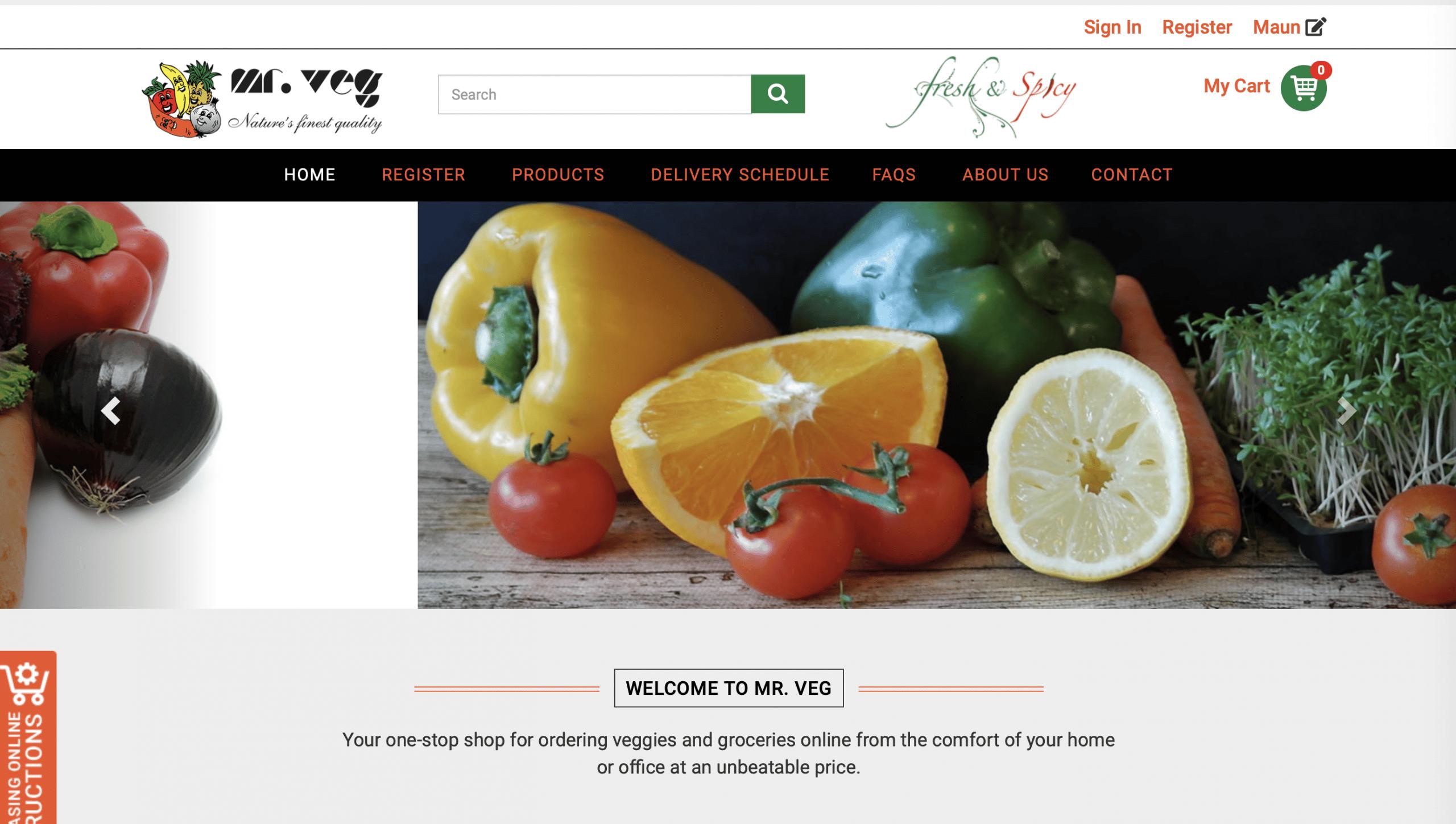 Mr Veg Website