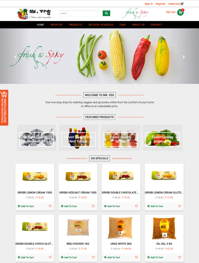 Mr Veg eCommerce Site